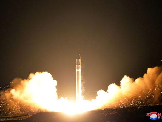 This image provided by the North Korean government on Nov. 30, 2017, shows what it calls the Hwasong-15 intercontinental ballistic missile at an undisclosed location in North Korea.