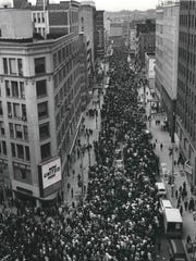 Milwaukee's biggest civil rights demonstration in history honored Martin Luther King Jr. with a mass march downtown on April 8, 1968. The group is shown moving north on Plankinton Ave. This photo was published in the April 9, 1968, Milwaukee Journal.