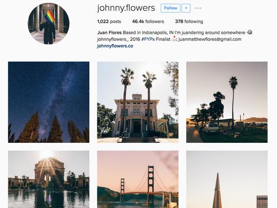 A screenshot of Juan's Instagram profile, where he has more than 46,000 followers.