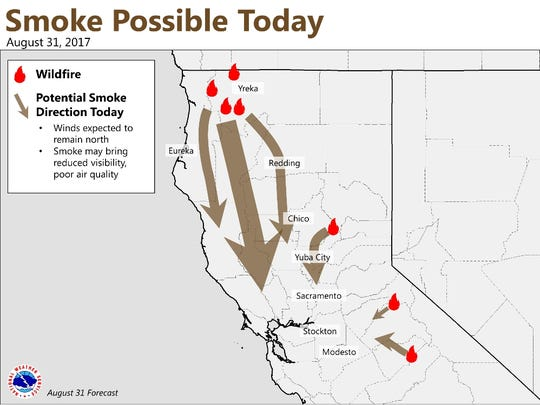 Smoke and haze will reduce visibility, especially for northern Sacramento Valley, and coastal mountain and foothills.