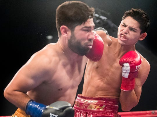 Ryan Garcia, of Victorville, shown earlier this year in a bout in Indio, will headline Golden Boy's Facebook Watch card on Saturday.