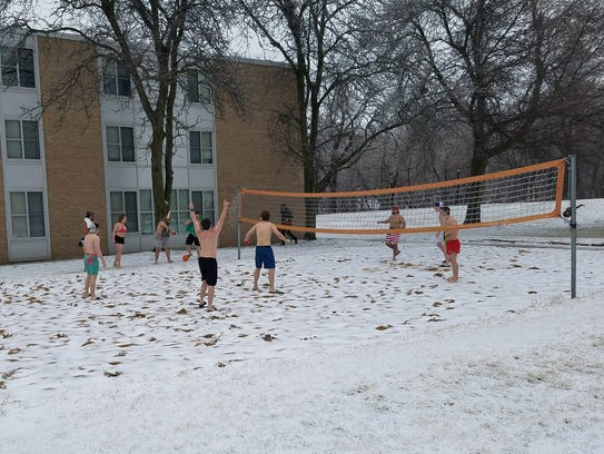 Not letting the weather get them down, Ripon College