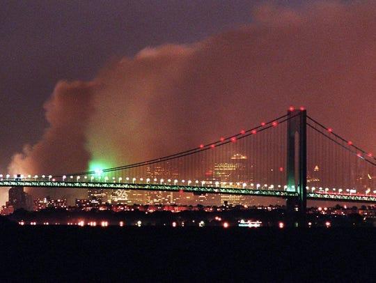 A long exposure of the Manhattan Skyline as smoke covers