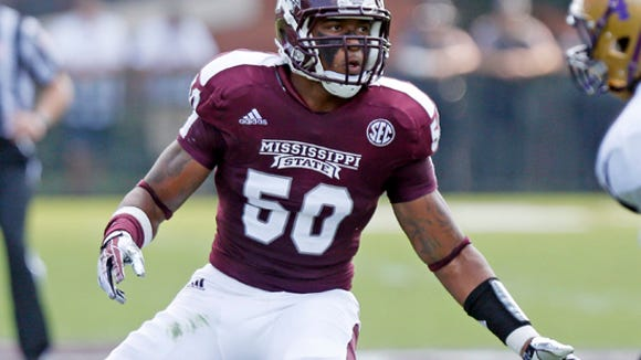 Mississippi State linebacker Benardrick McKinney (50) covers Alcorn State running back Anthony Williams III (4) in the first  quarter of their NCAA college football game at Davis Wade Stadium, in Starkville, Miss. Mississippi State won 51-7. (AP Photo/Rogelio V. Solis)