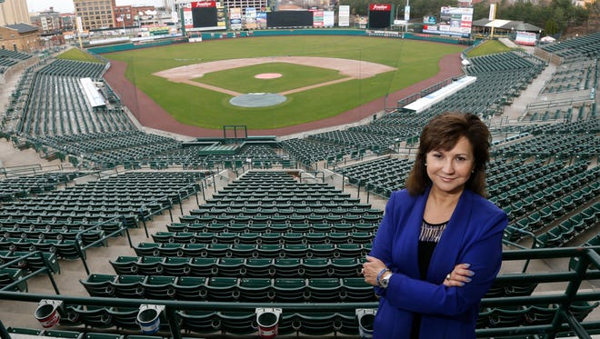 Naomi Silver at Frontier Field, home of the Rochester Red Wings. This was the 60th anniversary of the Red Wings stock sale, led by Silver's father, Morrie, that saved the team from moving. Some 21 years ago, the opening of Frontier Field did the same.