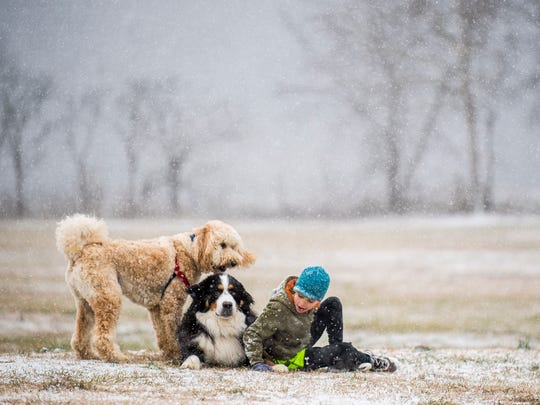 Noah Harrison, right, plays in the snow with Goldendoodle