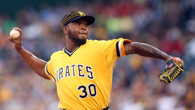 Jul 24, 2016; Pittsburgh, PA, USA; Pittsburgh Pirates relief pitcher Neftali Feliz (30) pitches against the Philadelphia Phillies during the seventh inning at PNC Park.