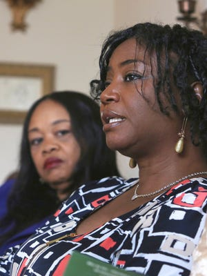 Sandra Thompson, right, speaks alongside Sandra Harrison, both golfers and members of a group of local women known as Sisters in the Fairway, during an interview with The Associated Press, Tuesday April 24, 2018 in York. Officials at the Grandview Golf Club in York called police on the group April, accusing them of playing too slowly and holding up others behind them.