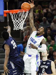 FGCU's Jamail Jones misses a dunk against North Florida on Wednesday at Alico Arena.