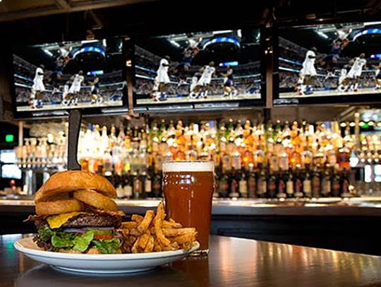 The signature tavern burger at Thirsty Lion Gastropub