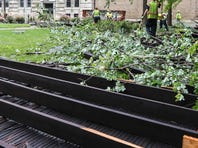 An SUV was crushed by a section of the Louisville Gardens roof following high winds during Wednesday's storms.