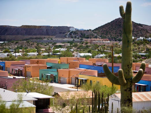 The Customs and Border Patrol houses are a two-block cluster of colorful houses in historic Ajo. The federal government spent more than $600,000 each to build 21 houses in Ajo and develop the surrounding area in 2013.