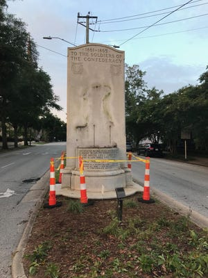 The Confederate monument on Third Street has been temporarily relocated.