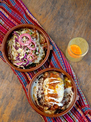 Enchiladas — vegetarian green (top) or protein- packed pork topped with an egg — are coming into their own.