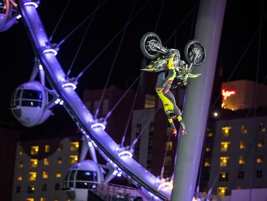 Mike Mason performs a stunt during a Nitro Circus tour