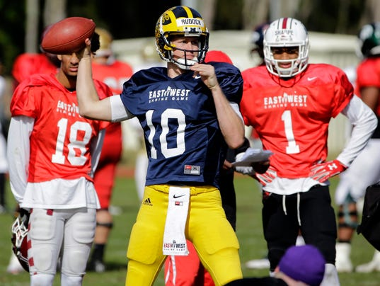 NFL Jerseys Cheap - Ex-Michigan QB Jake Rudock works out for Lions, praises Harbaugh's ...
