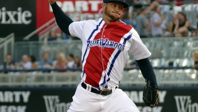 Josh Smith was the opening pitcher for the Pensacola Blue Wahoos Saturday evening against the Biloxi Shuckers in Pensacola.