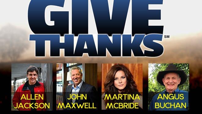 Give Thanks will be held Nov. 8 at Bridgestone Arena in Nashville.