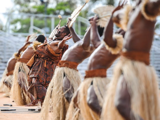 Delegation members of Fiji entertain festival goers with a cultural dance at the Paseo Stadium in Hagatna during the 12th Festival of Pacific Arts on June 3, 2016.