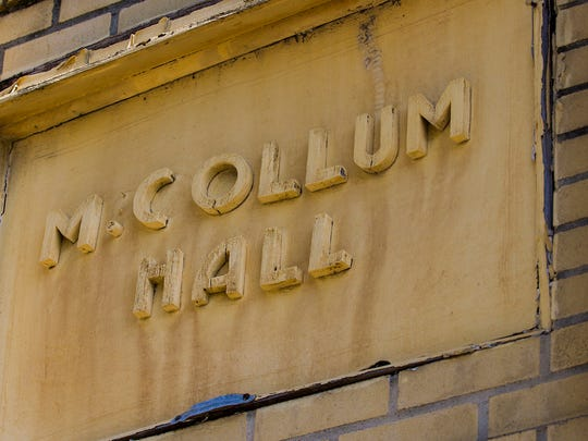 A photograph taken in 2016 shows the exterior of McCollum Hall prior to the renovation of the facade.