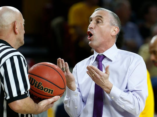 Arizona State coach Bobby Hurley, right, argues with an official during the first half of the team's NCAA basketball game against Southern California on Thursday, Feb. 8, 2018, in Tempe, Ariz. (AP Photo/Ross D. Franklin)