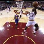 LeBron James takes a shot in Game 6 of the NBA Finals in Cleveland.