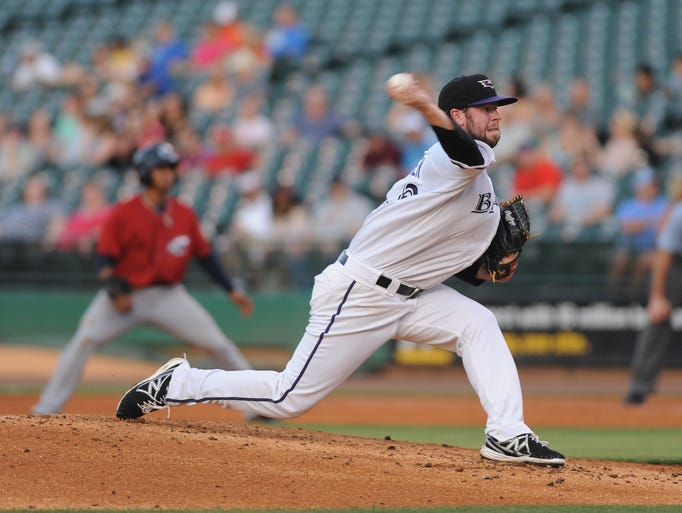 Louisville Bats' Mikey O'brien delivers a pitch to Columbus on Thursday at Louisville Slugger Field. (By David Lee Hartlage, Special to the C-J) Aug. 21, 2014.