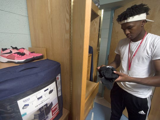 While the 15 or so pairs of sneakers owned by Montrel Morgan are put away on move-in day at East Stroudsburg University, a single pink pair sits on the shelf of his dorm room. They are a reminder of his mother, Lonisha Morgan, and her battle with cancer when he was a young boy.