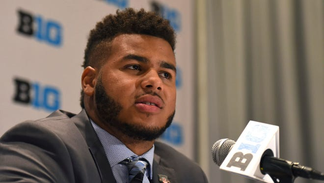 Wisconsin linebacker T.J. Edwards speaks at Big Ten media day on Monday in Chicago.