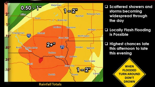 A map showing which areas are likely to get the most rain in eastern South Dakota.