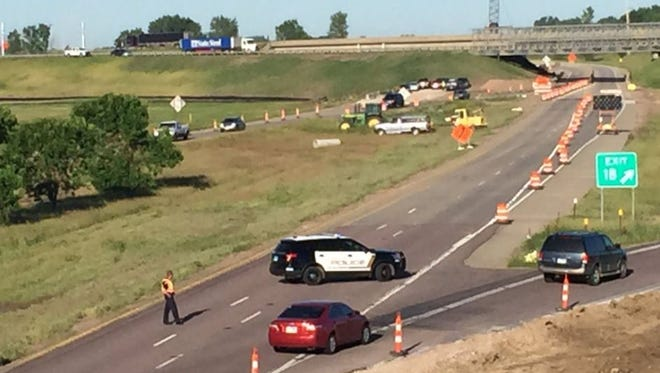 Traffic going south on I-229 was diverted from going onto I-29 southbound after a semi-trailer got stuck Tuesday.