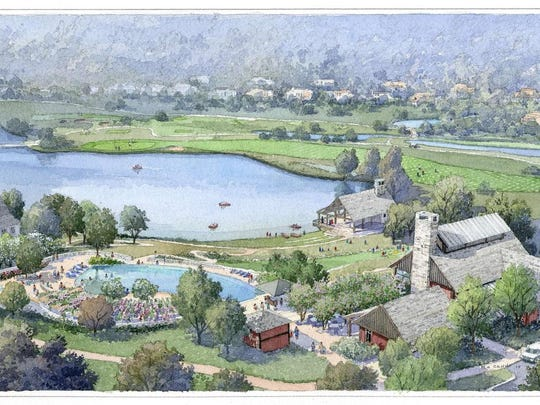 A rendering provided by Silo Ridge developers shows an overview of the proposed resort community, including the pool area, lower left and lake.