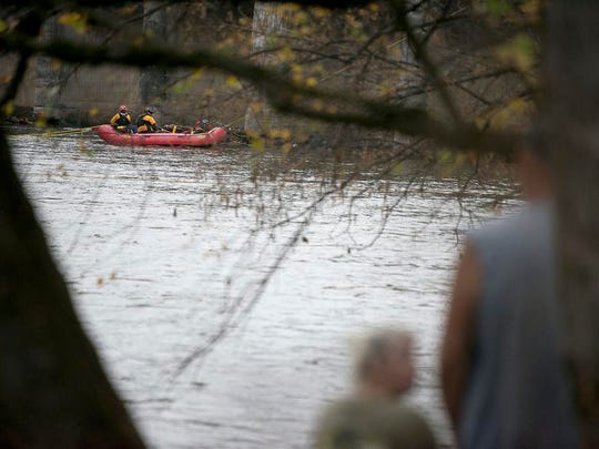 Crews search the French Broad River for the two missing women Nov. 5.