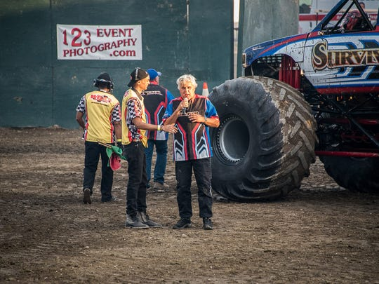 "Former Late night show host Jay Leno, a massive car enthusiast, was at the Riverside County Fair & National Date Festival Sunday, Feb. 14,  taping an episode of his show ""Jay Leno's Garage"" during the fair's Monster Truck Show."