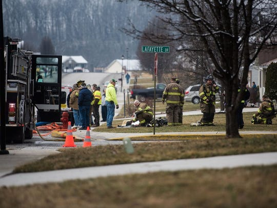 Firefighters respond to a reported explosion in a Littlestown house on Lexington Way on March 4.
