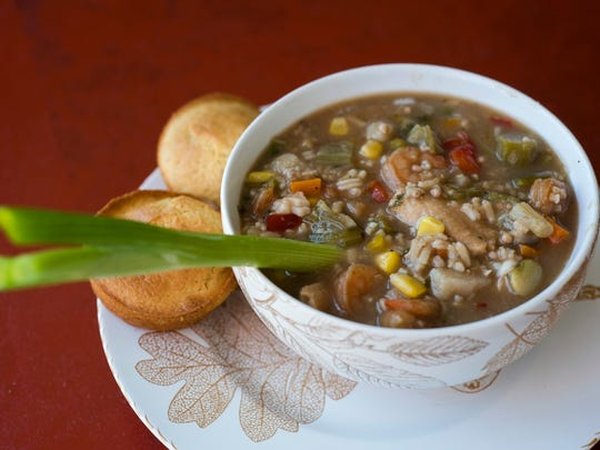 Sweet Peach's seafood gumbo is made with shrimp, okra, red and green pepper, fish, and crab.