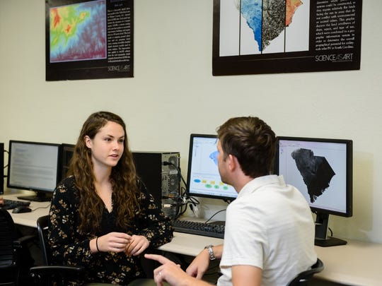 Amanda Farthing and Michael Carbajales-Dale talk about the solar-energy maps they created as part of their research with the Clemson University Center for Geospatial Technologies.