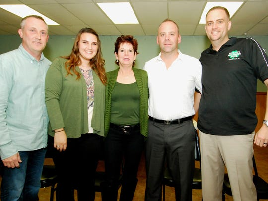 The 2017 Nutley St. Patrick's Day Parade dignitaries are, from left, Firefighter of the Year Michael Budnick, Parade Queen Morgan Sim, Nutley Irish American Alliance Member of the Year Colleen M. Nielsen, Deputy Grand Marshal Shane McClafferty, and Grand Marshal Frank Dauksis.