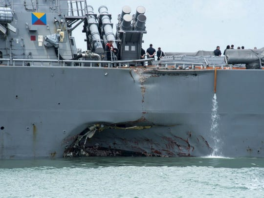 Damage to the USS John McCain