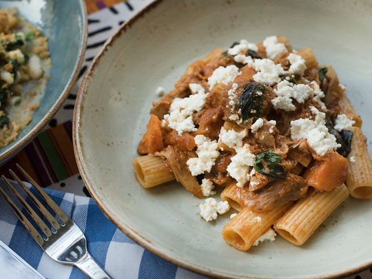 Dorowat Rigatoni on earthen beige plate at Marcus B&P