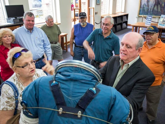 ILC Dover historian William Ayrey, shown at a program last year at the Delaware Public Archives, will share the history of space suits and Delaware's important role in their creation.