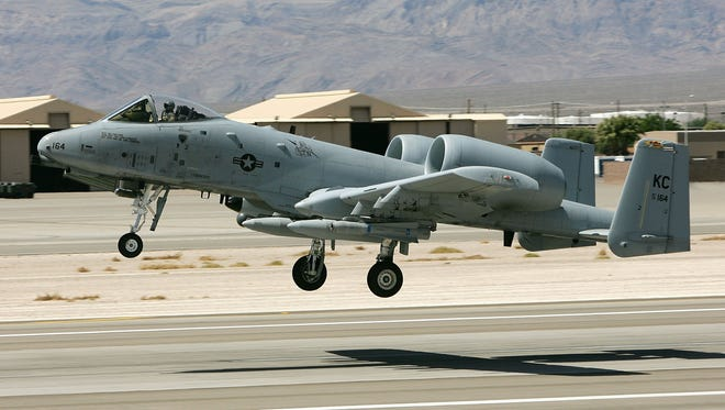 File photo:  A United States Air Force A-10 Thunderbolt II takes off from Nellis Air Force Base in 2006.