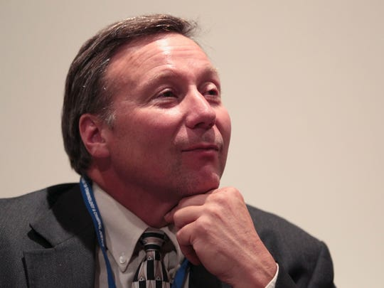 David Camm speaks at an Indiana State classroom in 2014.