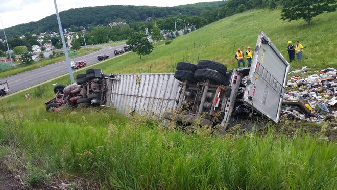 A tractor trailer rolled over in Johnson City on Monday.