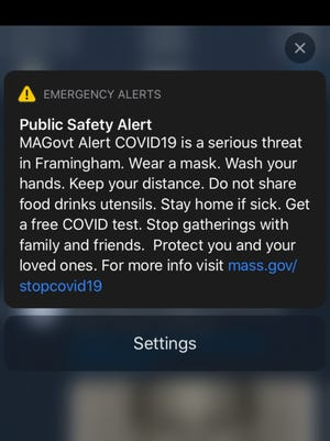 A screenshot of the emergency alert that was sent to residents and people in Framingham on Monday, Oct. 15.