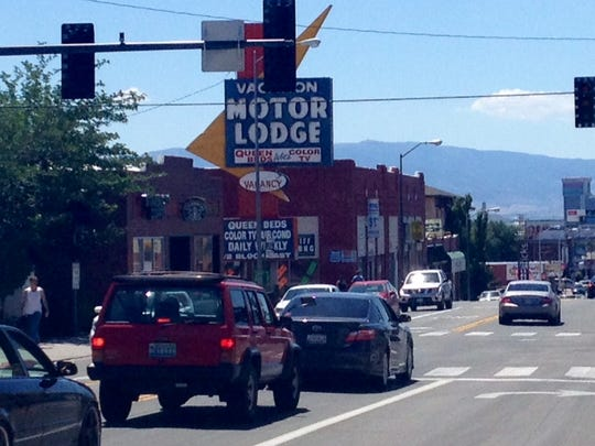 A Saturday morning power outage near downtown Reno  backed up traffic on South Virginia Street and California Avenue.
