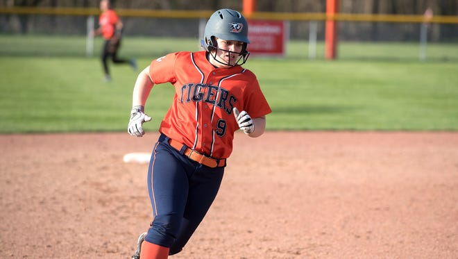 Galion's Kate Schieber heads for third base.