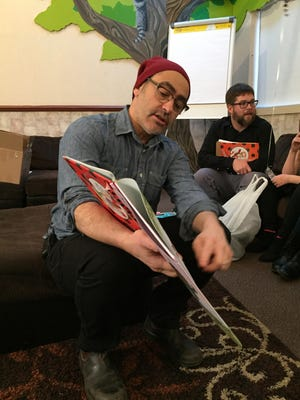 """Children's book author/illustrator David Soman talks about his book """"Ladybug Girl"""" at the Children's Home of Poughkeepsie Jan. 20."""