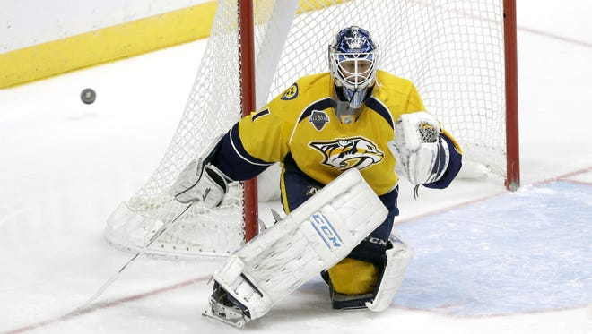Goalie Juuse Saros gave up three goals on 23 shots in his NHL debut for the Predators on Saturday night.