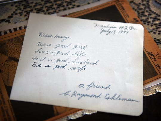 Raymond Eshleman wrote this simple note to Mary long before she became an Eshleman. Mary eventually did find a good husband in Raymond and the couple recently celebrated their 70th anniversary. The pair reside together at the Lebanon Valley Brethren Home in North Londonderry Township.